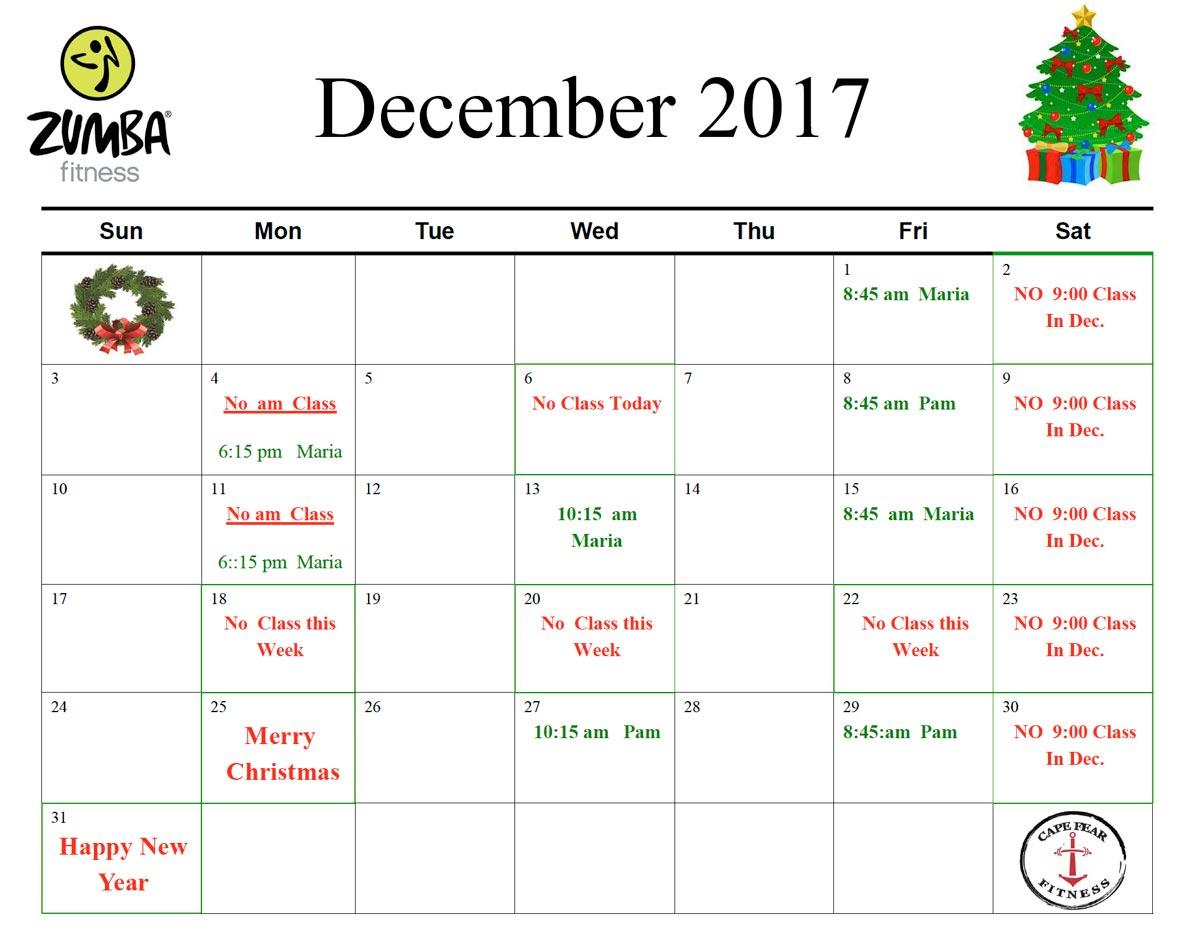 december 2017 zumba schedule