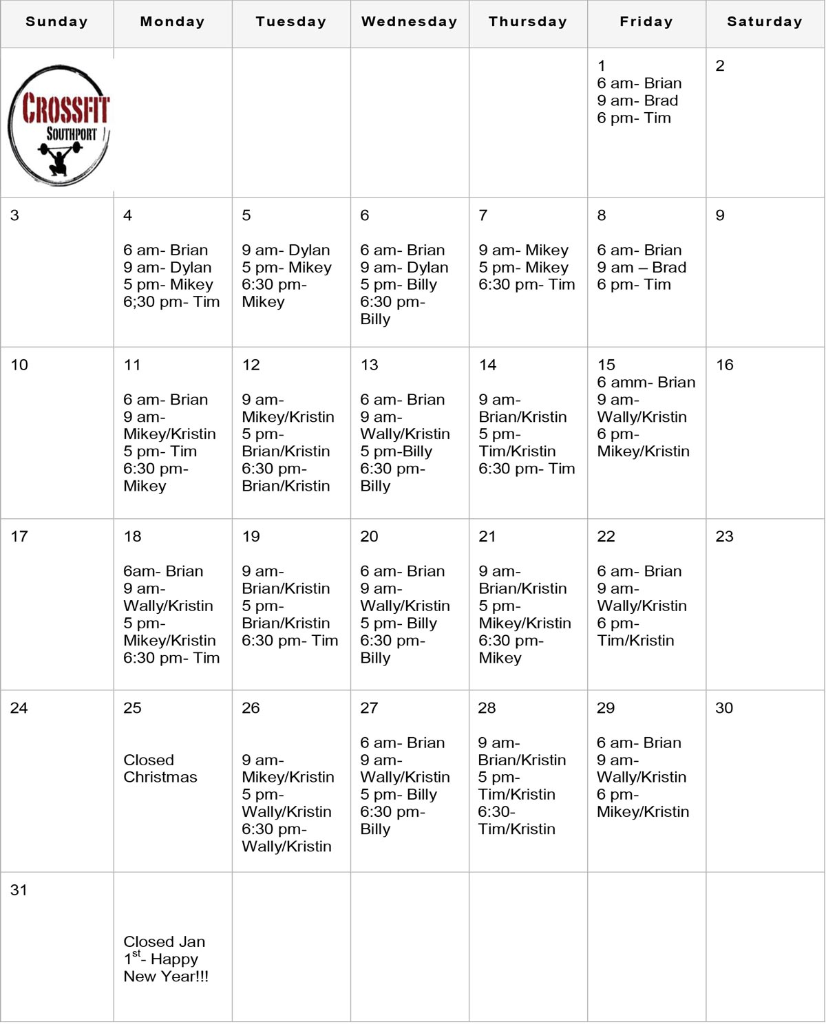crossfit schedule december 2017